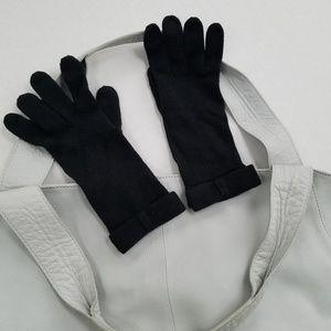 BR Soft Black Cotton/Rabbit Blend Tech Bow Gloves
